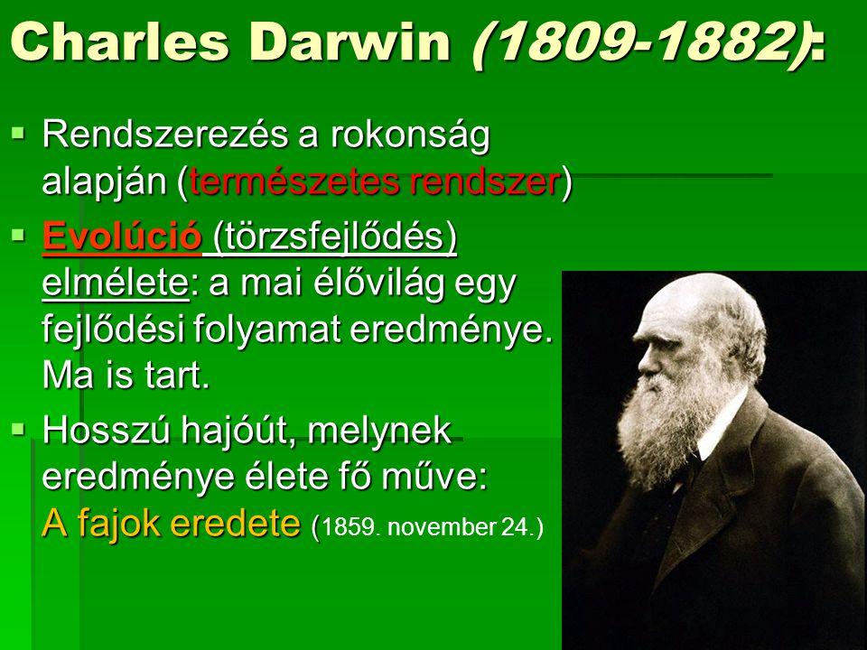 Charles Darwin (1809-1882): Rendszerezés a rokonság alapján (természetes rendszer)
