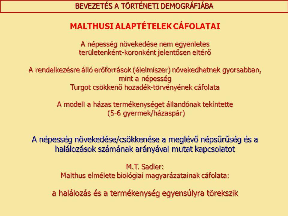 MALTHUSI ALAPTÉTELEK CÁFOLATAI