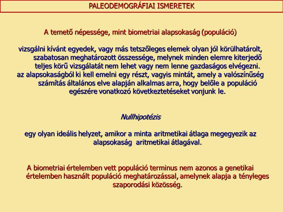 PALEODEMOGRÁFIAI ISMERETEK