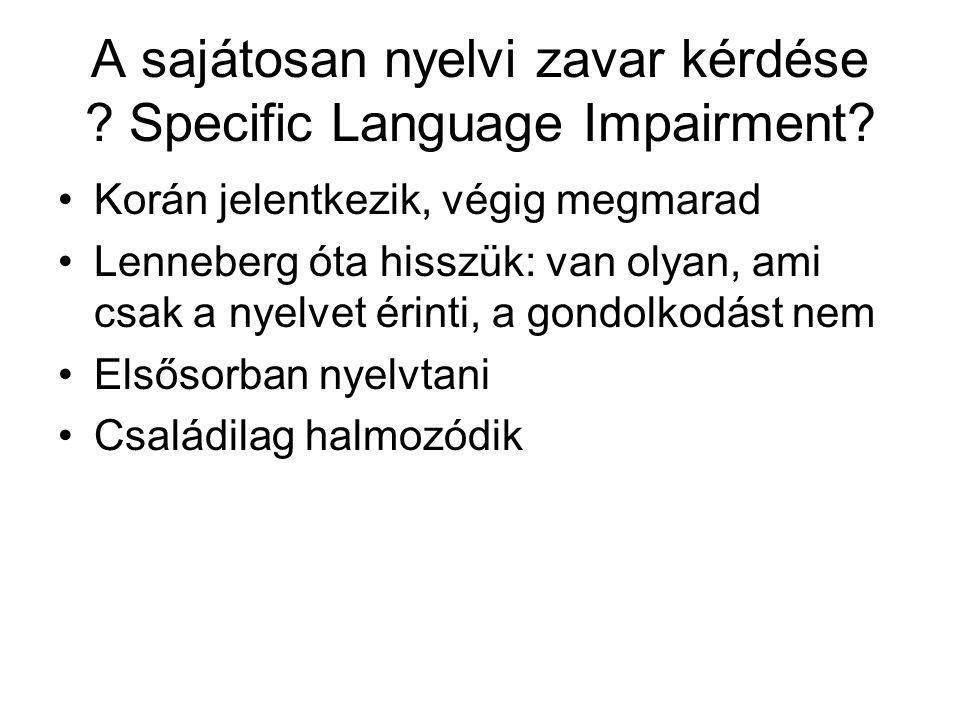 A sajátosan nyelvi zavar kérdése Specific Language Impairment