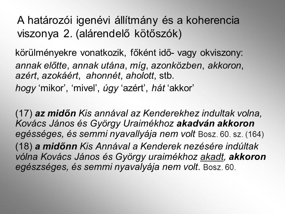 A határozói igenévi állítmány és a koherencia viszonya 2