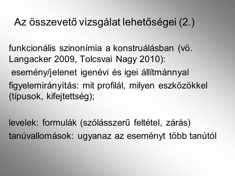 Az összevető vizsgálat lehetőségei (2.)