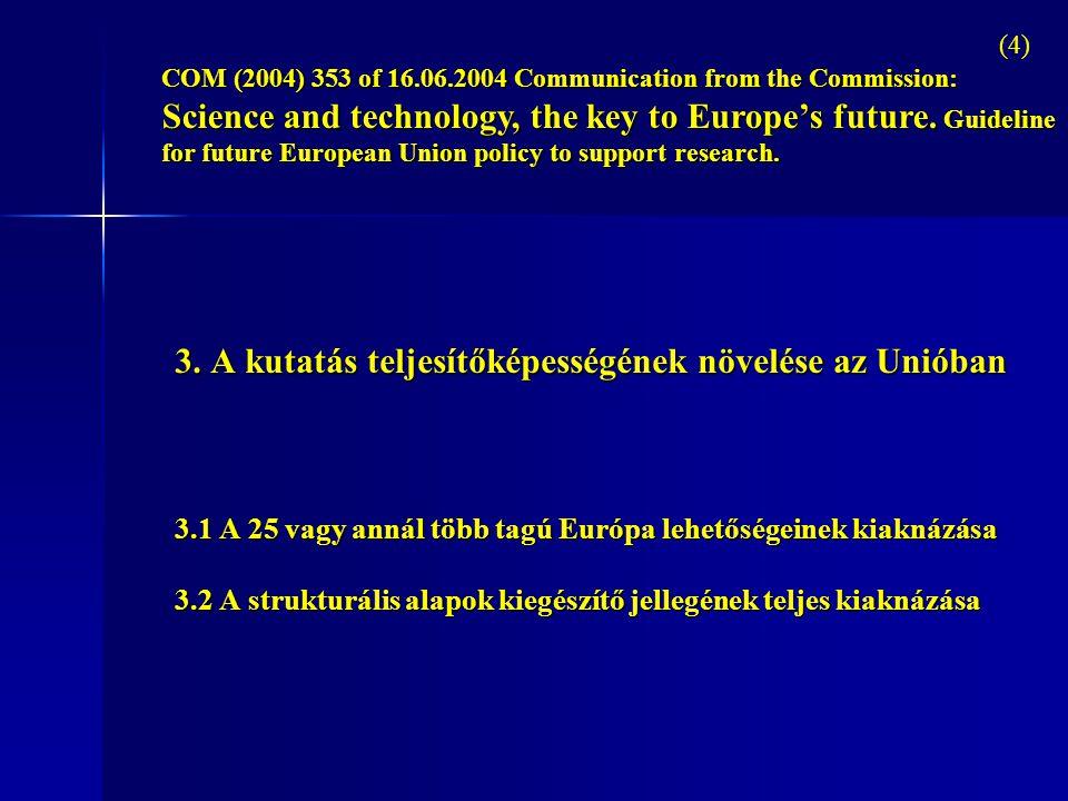 3. A kutatás teljesítőképességének növelése az Unióban