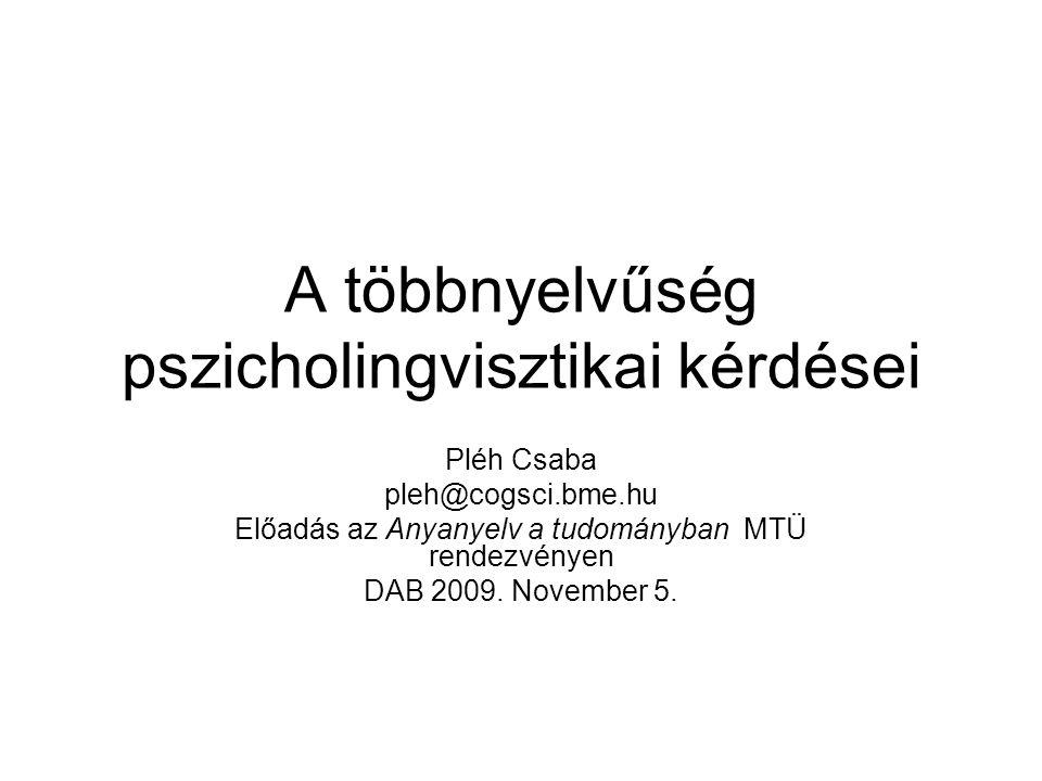 A többnyelvűség pszicholingvisztikai kérdései