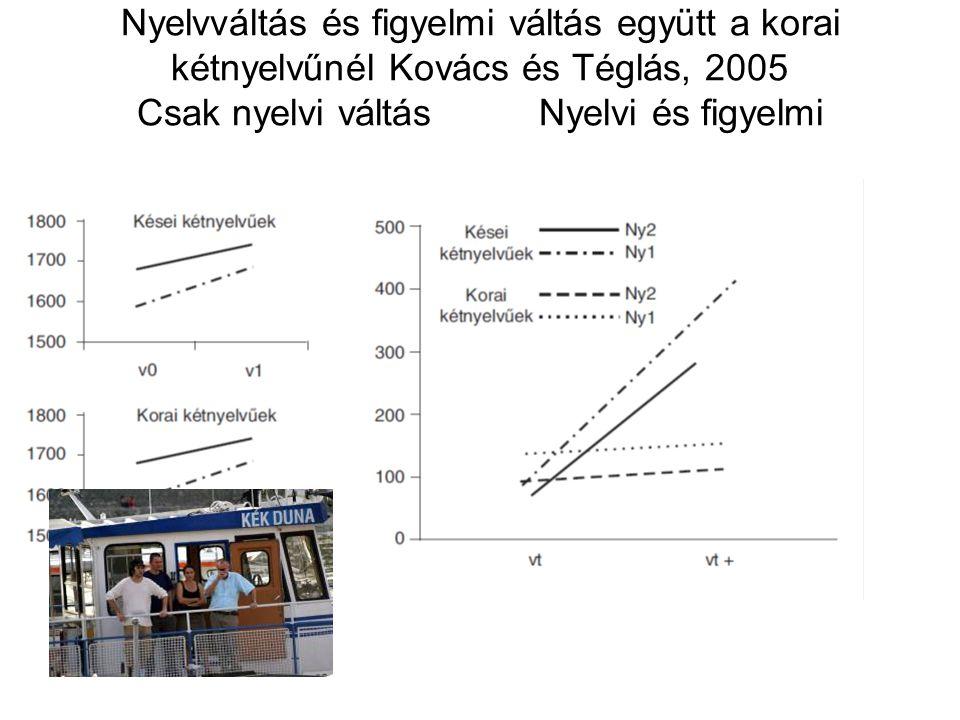 Nyelvváltás és figyelmi váltás együtt a korai kétnyelvűnél Kovács és Téglás, 2005 Csak nyelvi váltás Nyelvi és figyelmi