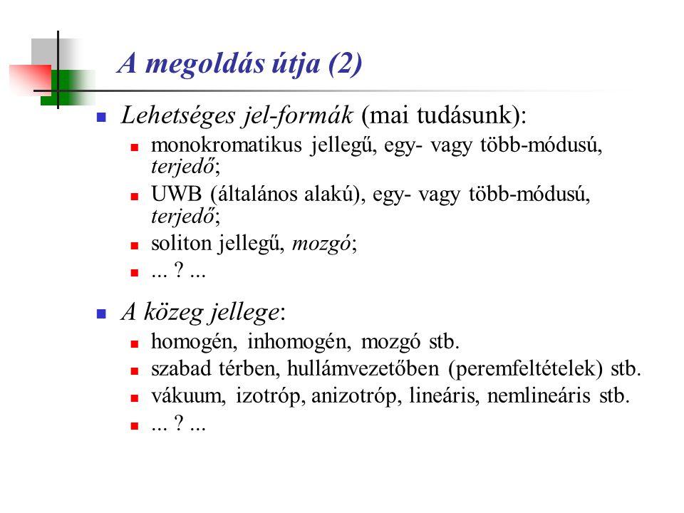 A megoldás útja (2) Lehetséges jel-formák (mai tudásunk):