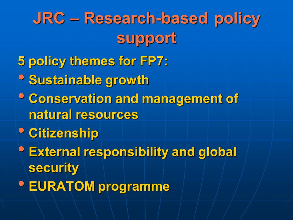 JRC – Research-based policy support