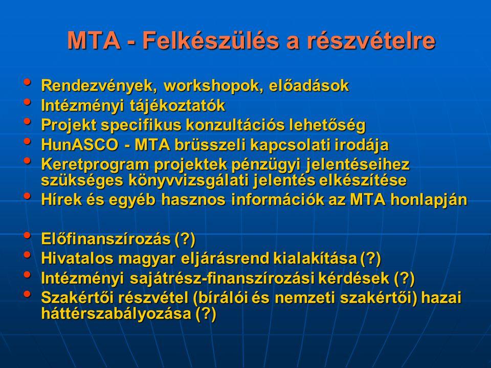 MTA - Felkészülés a részvételre