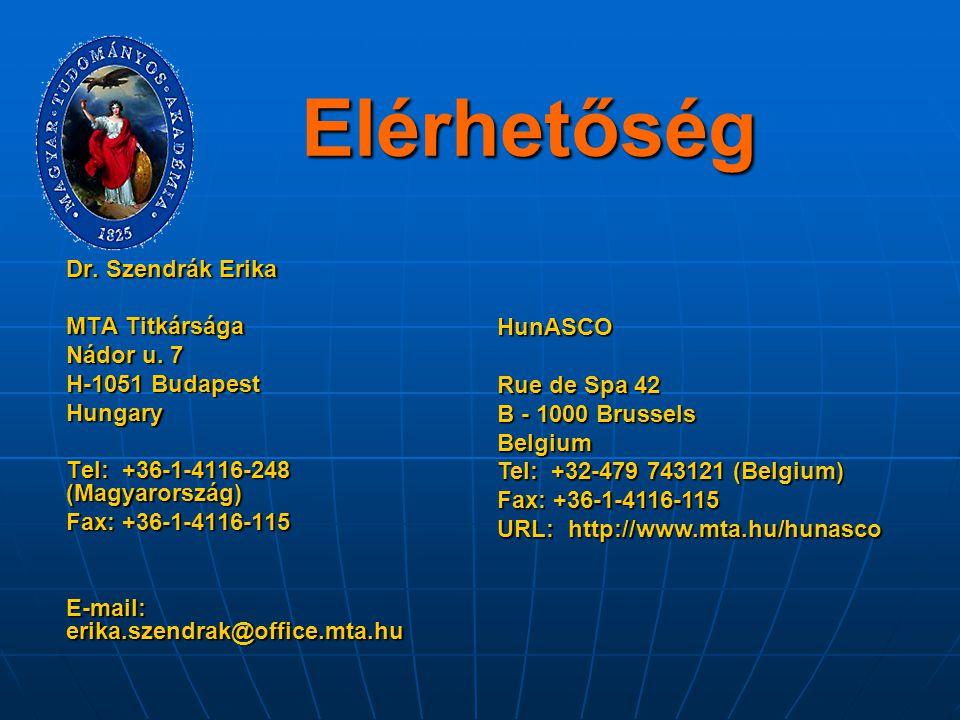 Elérhetőség Dr. Szendrák Erika MTA Titkársága Nádor u. 7 HunASCO