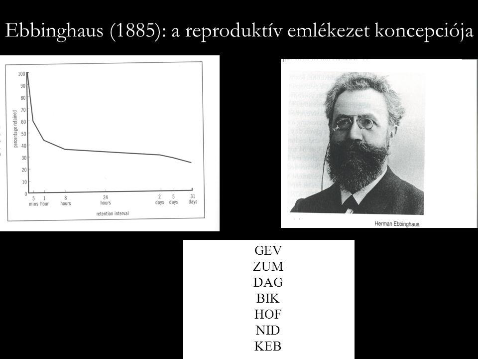 Ebbinghaus (1885): a reproduktív emlékezet koncepciója