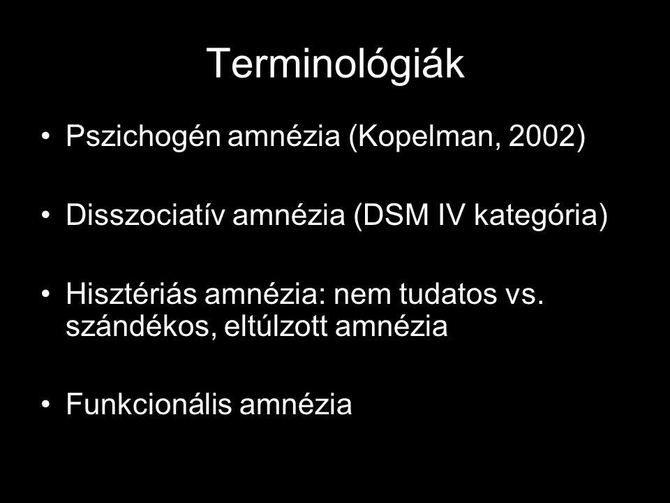Terminológiák Pszichogén amnézia (Kopelman, 2002)
