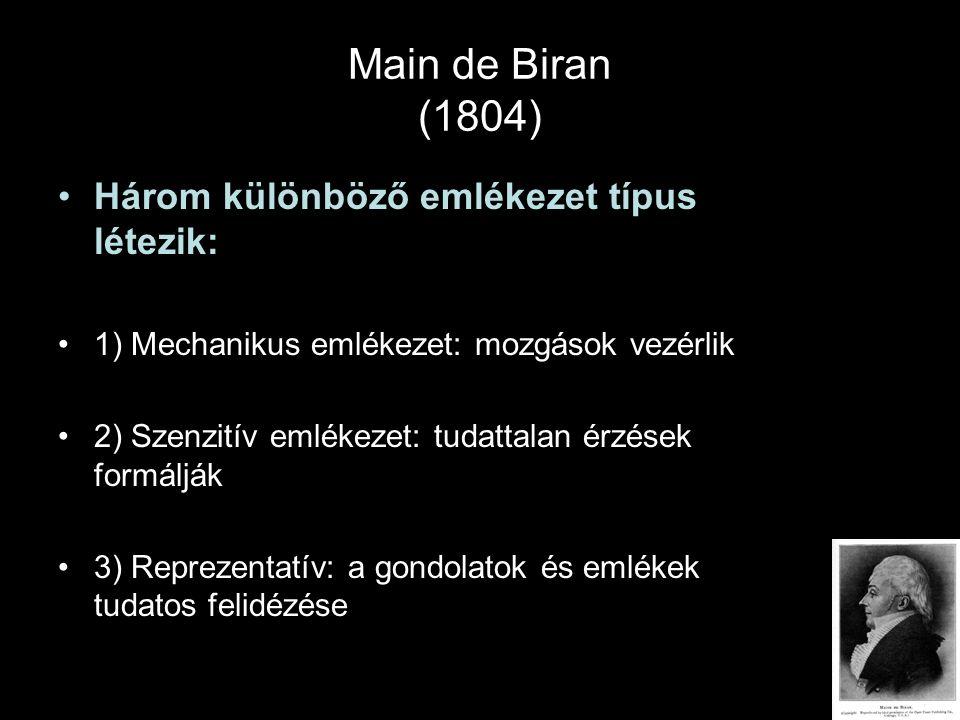 Main de Biran (1804) Három különböző emlékezet típus létezik: