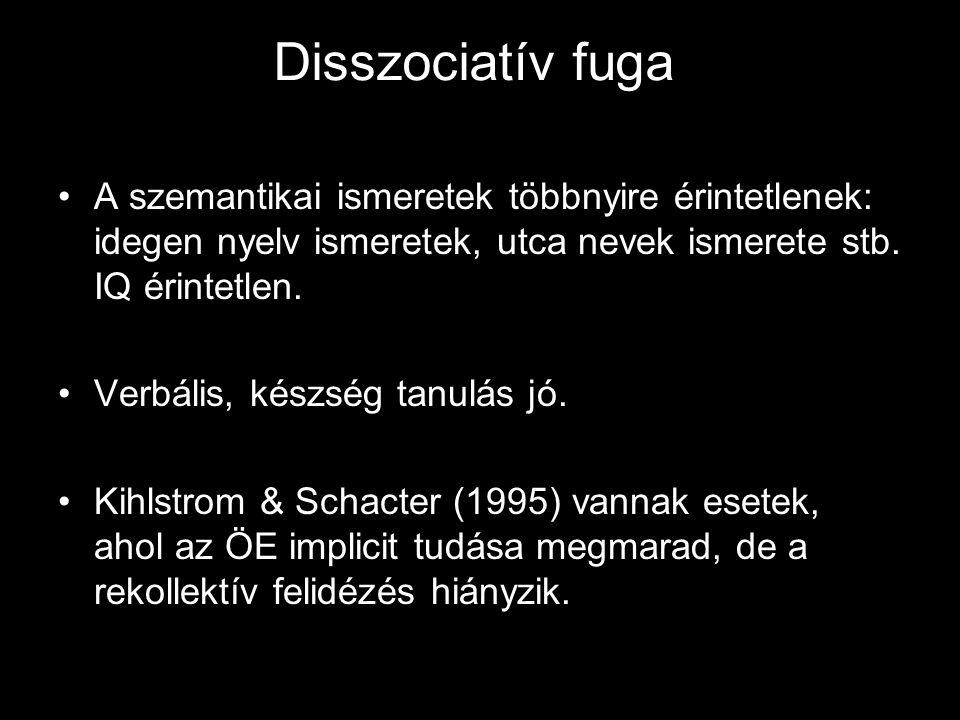 Disszociatív fuga A szemantikai ismeretek többnyire érintetlenek: idegen nyelv ismeretek, utca nevek ismerete stb. IQ érintetlen.