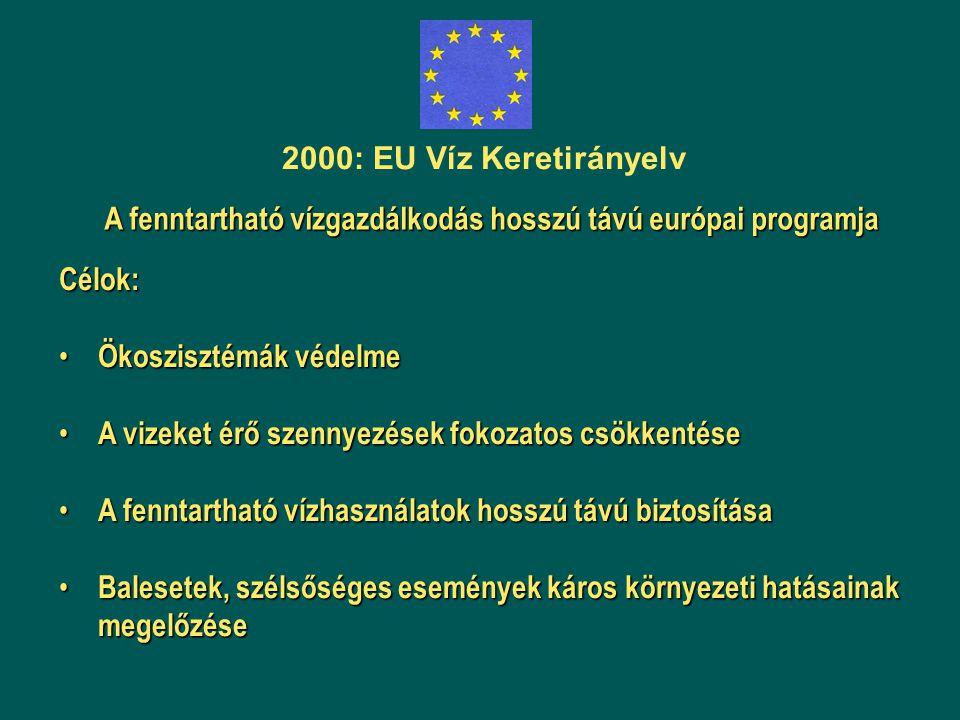 2000: EU Víz Keretirányelv A fenntartható vízgazdálkodás hosszú távú európai programja. Célok: Ökoszisztémák védelme.
