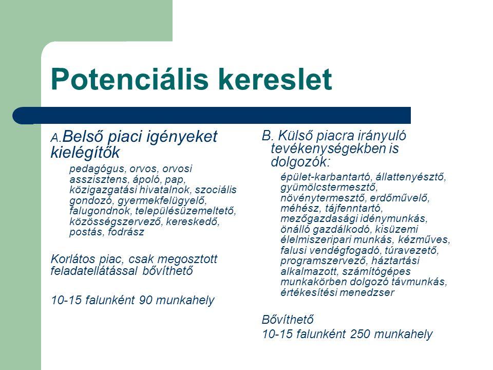 Potenciális kereslet Belső piaci igényeket kielégítők