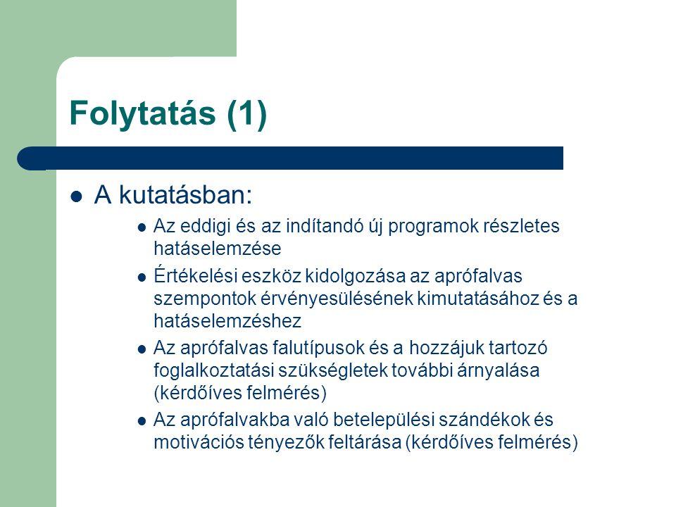 Folytatás (1) A kutatásban: