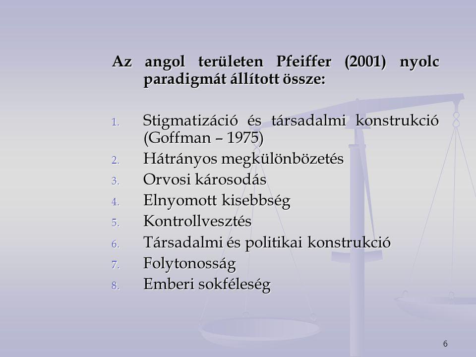 Az angol területen Pfeiffer (2001) nyolc paradigmát állított össze: