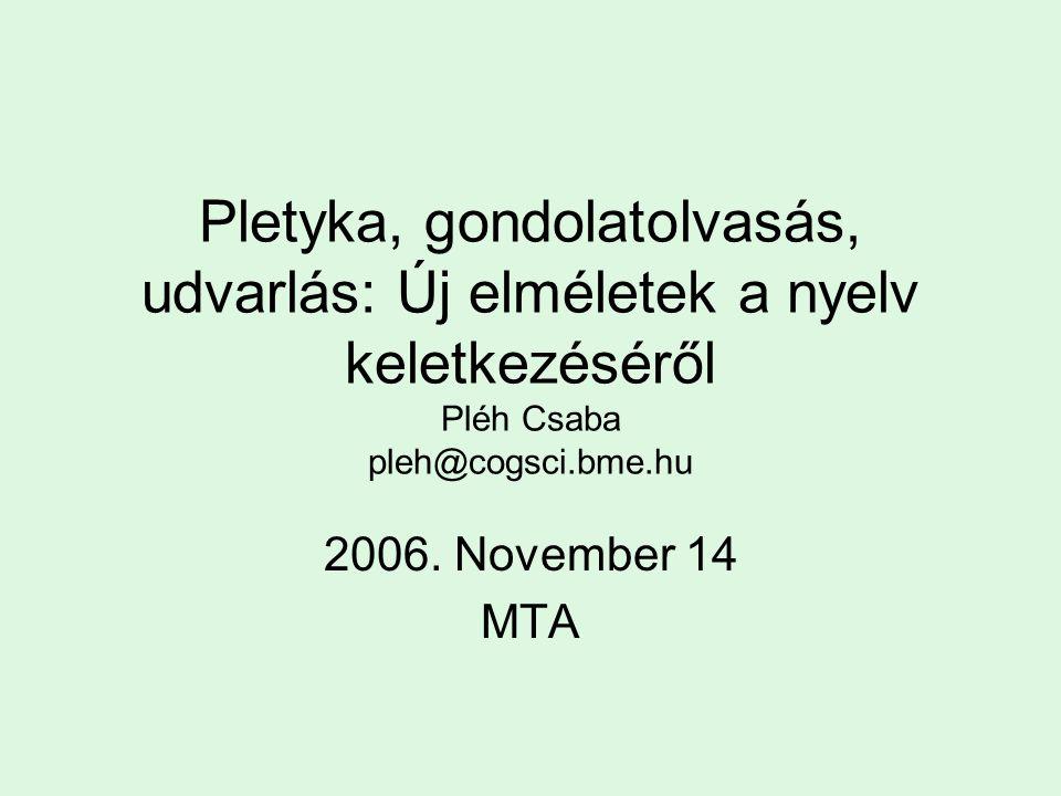 Pletyka, gondolatolvasás, udvarlás: Új elméletek a nyelv keletkezéséről Pléh Csaba pleh@cogsci.bme.hu