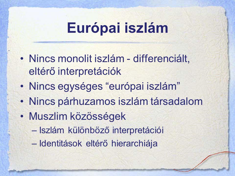 Európai iszlám Nincs monolit iszlám - differenciált, eltérő interpretációk. Nincs egységes európai iszlám