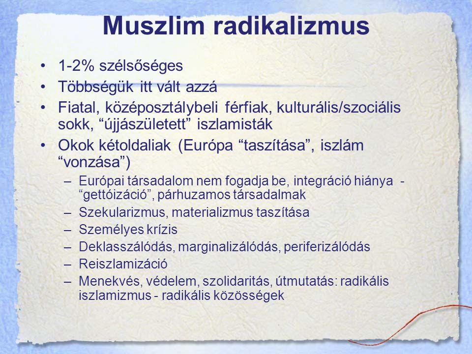 Muszlim radikalizmus 1-2% szélsőséges Többségük itt vált azzá