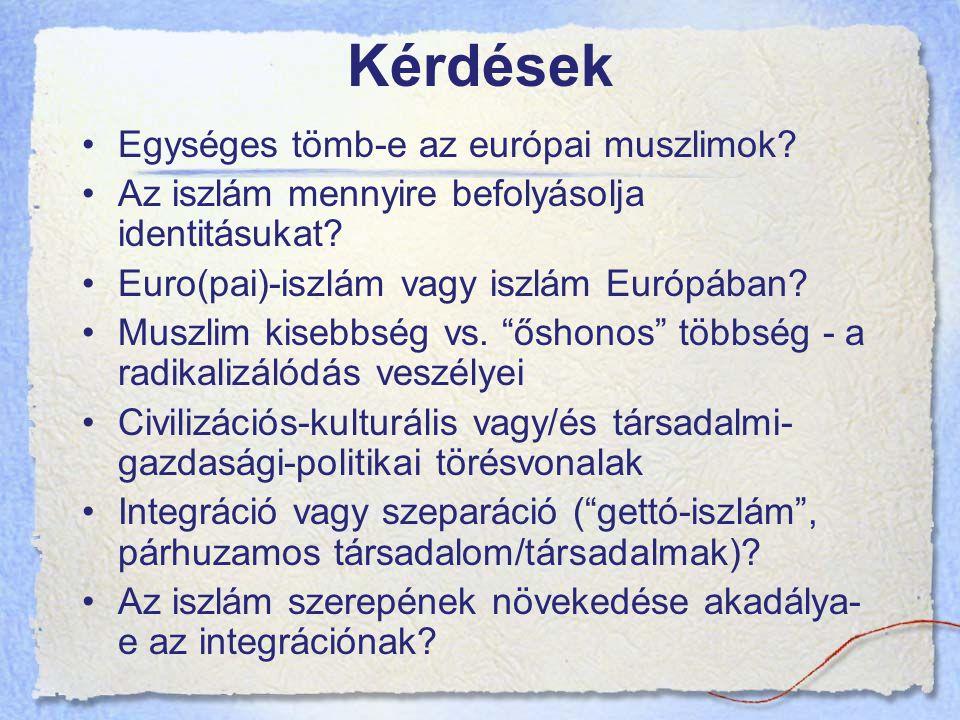 Kérdések Egységes tömb-e az európai muszlimok