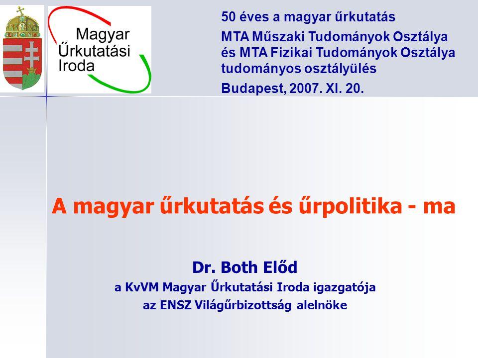 A magyar űrkutatás és űrpolitika - ma