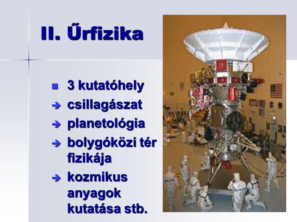 II. Űrfizika 3 kutatóhely csillagászat planetológia