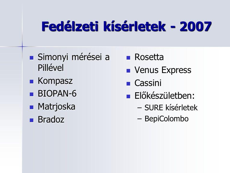 Fedélzeti kísérletek - 2007