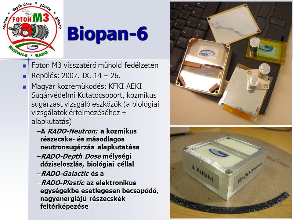 Biopan-6 Foton M3 visszatérő műhold fedélzetén