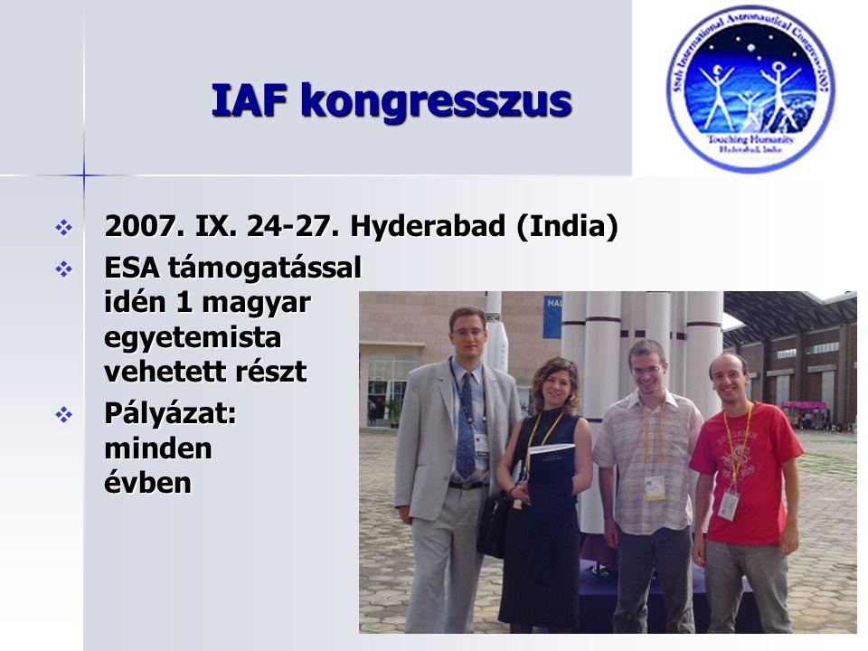 IAF kongresszus 2007. IX. 24-27. Hyderabad (India)