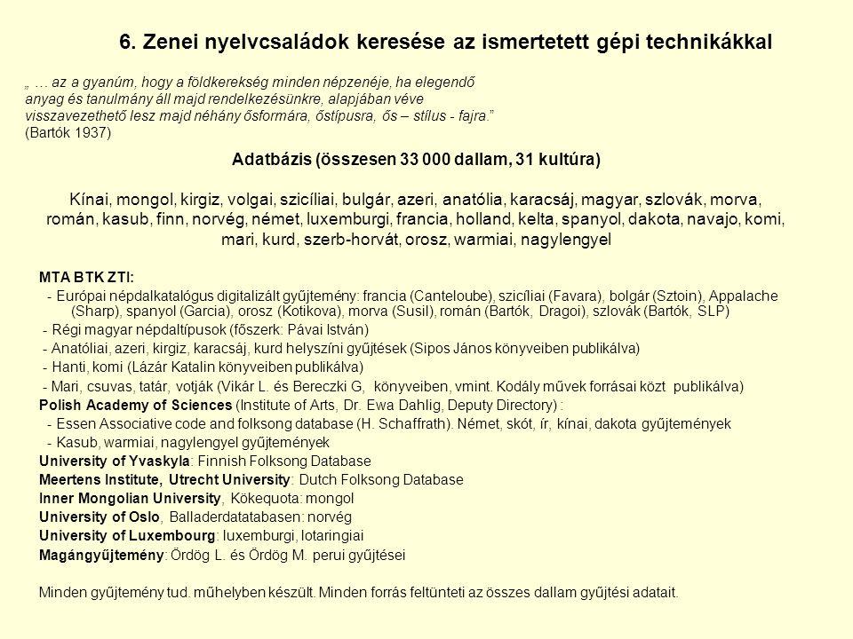 6. Zenei nyelvcsaládok keresése az ismertetett gépi technikákkal