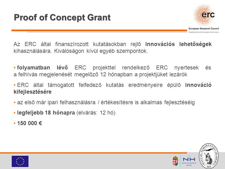 Proof of Concept Grant Az ERC által finanszírozott kutatásokban rejlő innovációs lehetőségek kihasználására. Kiválóságon kívül egyéb szempontok.