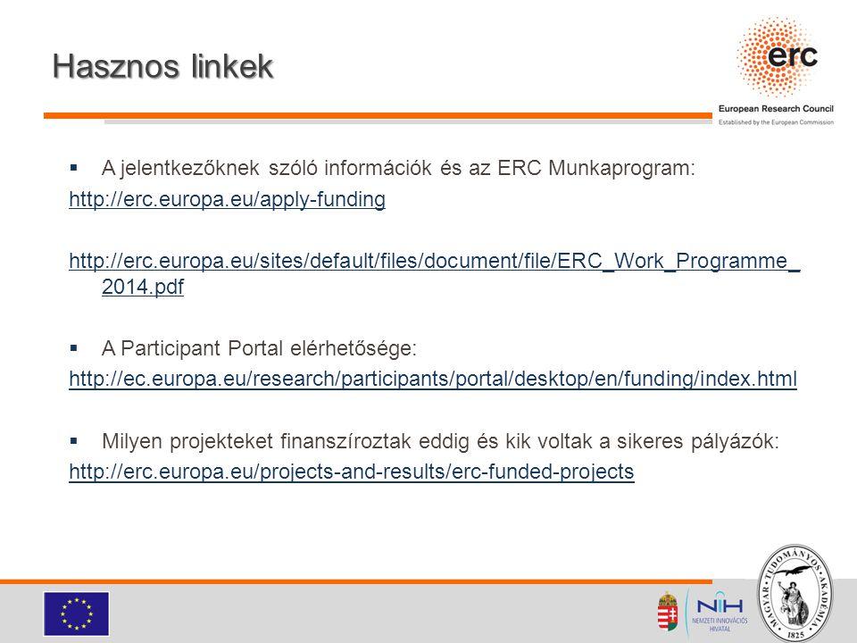 Hasznos linkek A jelentkezőknek szóló információk és az ERC Munkaprogram: http://erc.europa.eu/apply-funding.
