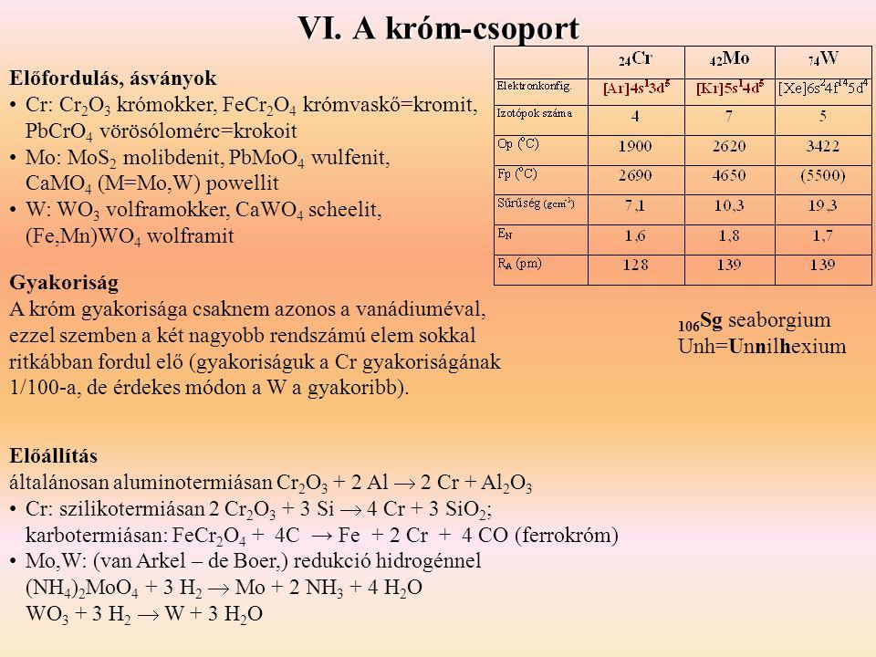VI. A króm-csoport Előfordulás, ásványok