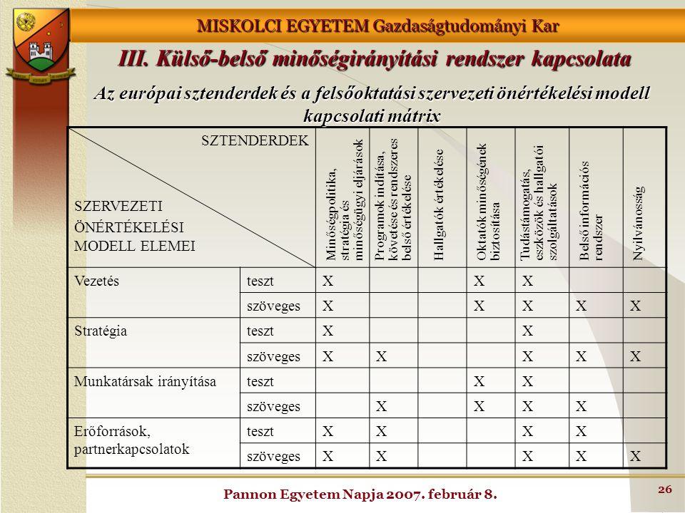III. Külső-belső minőségirányítási rendszer kapcsolata
