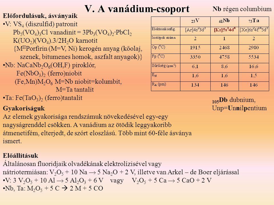 V. A vanádium-csoport Nb régen columbium Előfordulásuk, ásványaik