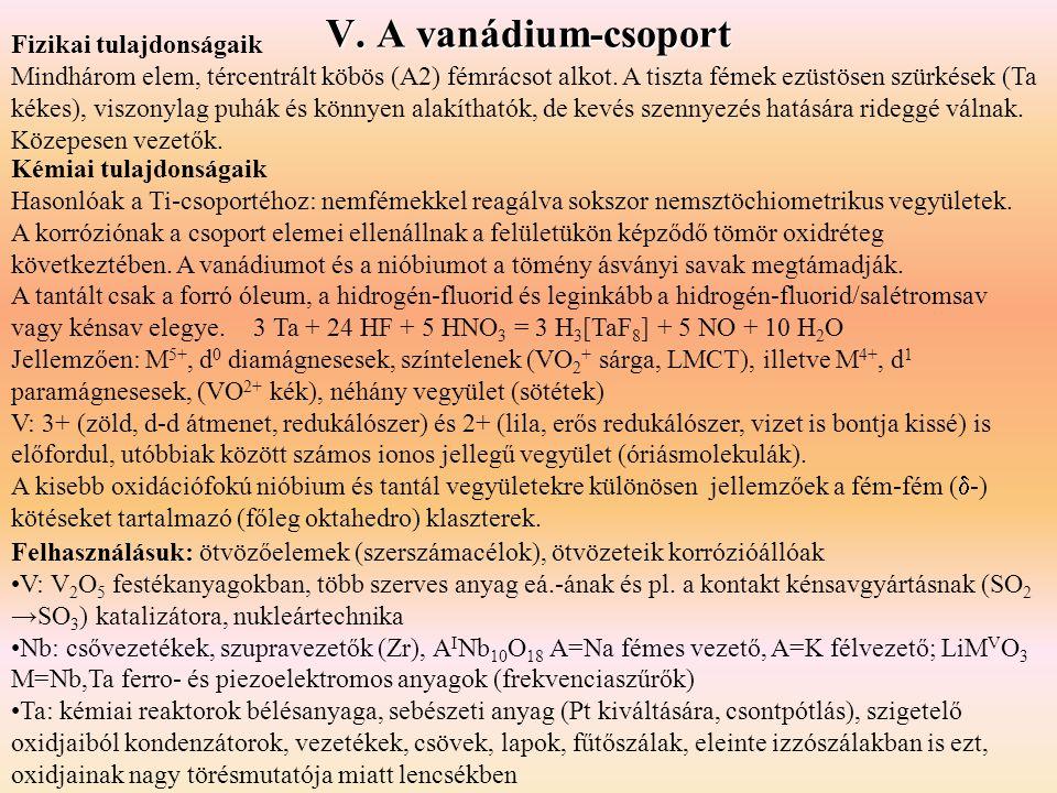 V. A vanádium-csoport Fizikai tulajdonságaik