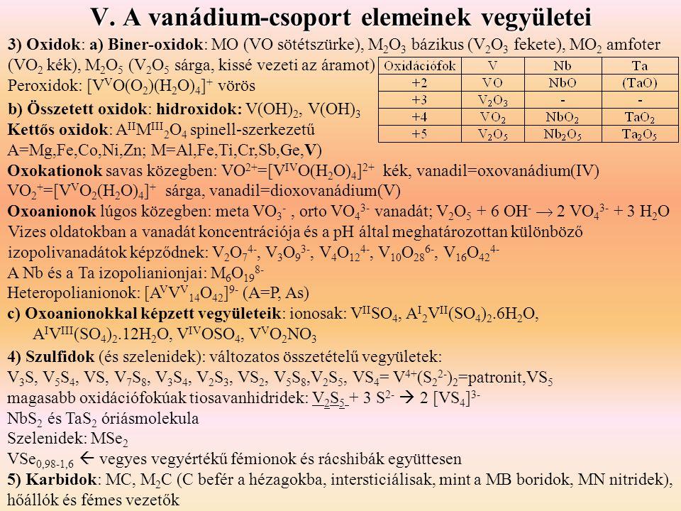 V. A vanádium-csoport elemeinek vegyületei