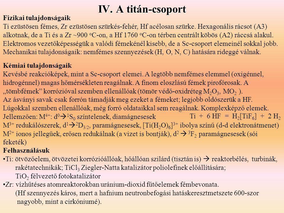 IV. A titán-csoport Fizikai tulajdonságaik