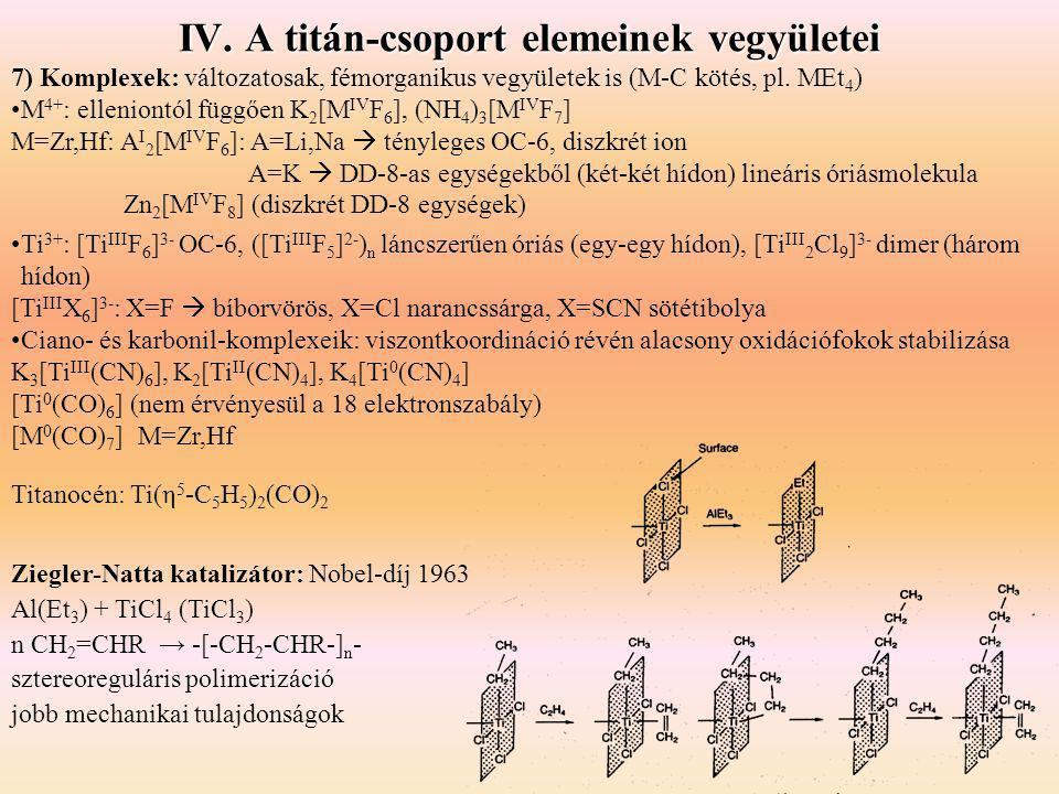 IV. A titán-csoport elemeinek vegyületei