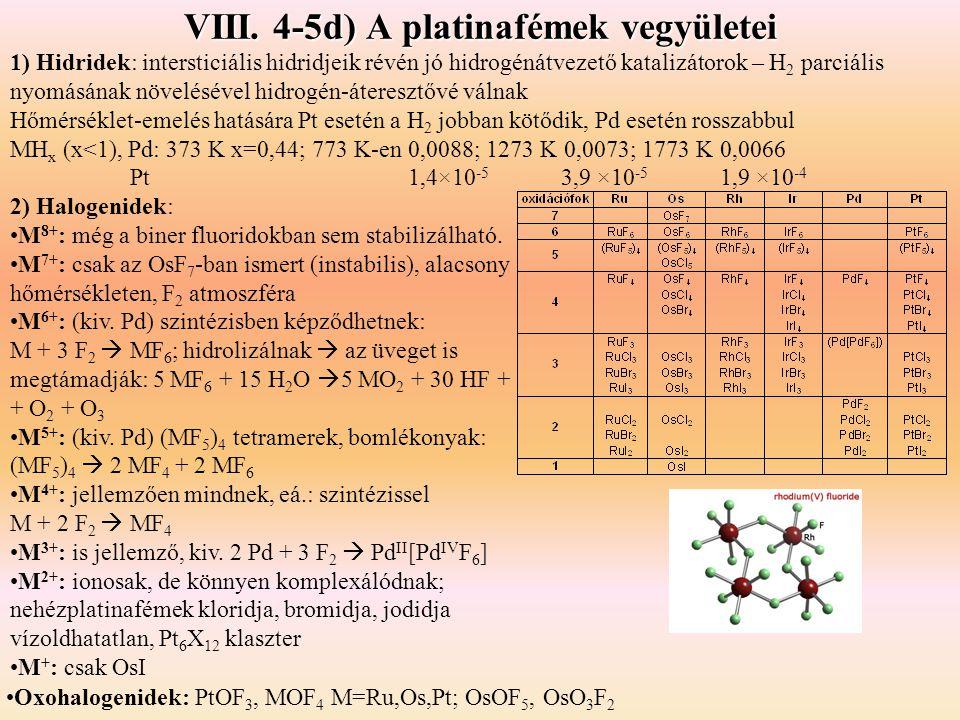 VIII. 4-5d) A platinafémek vegyületei