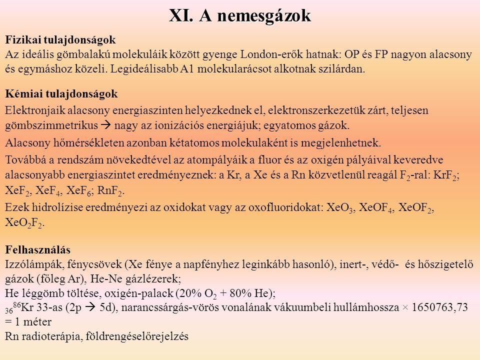 XI. A nemesgázok Fizikai tulajdonságok