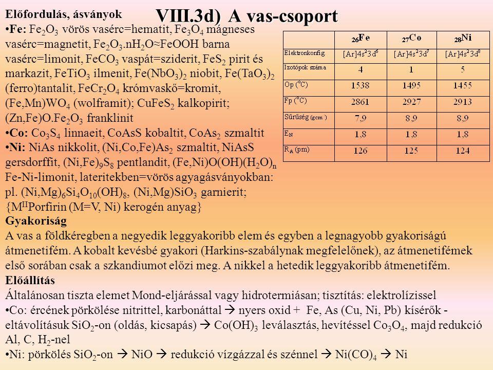 VIII.3d) A vas-csoport Előfordulás, ásványok