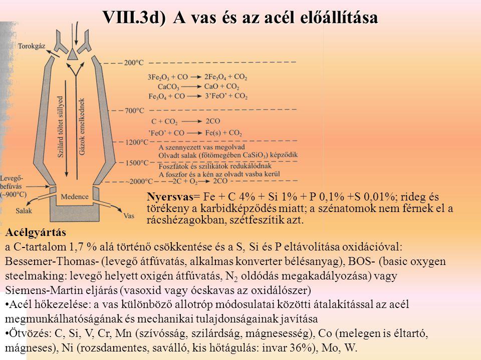 VIII.3d) A vas és az acél előállítása