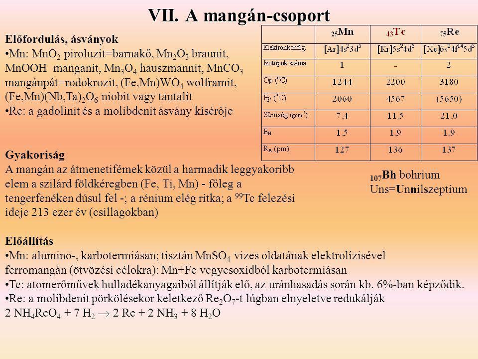 VII. A mangán-csoport Előfordulás, ásványok