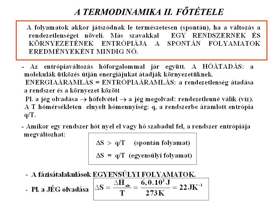 A TERMODINAMIKA II. FŐTÉTELE