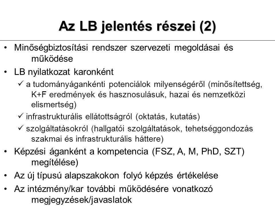 Az LB jelentés részei (2)