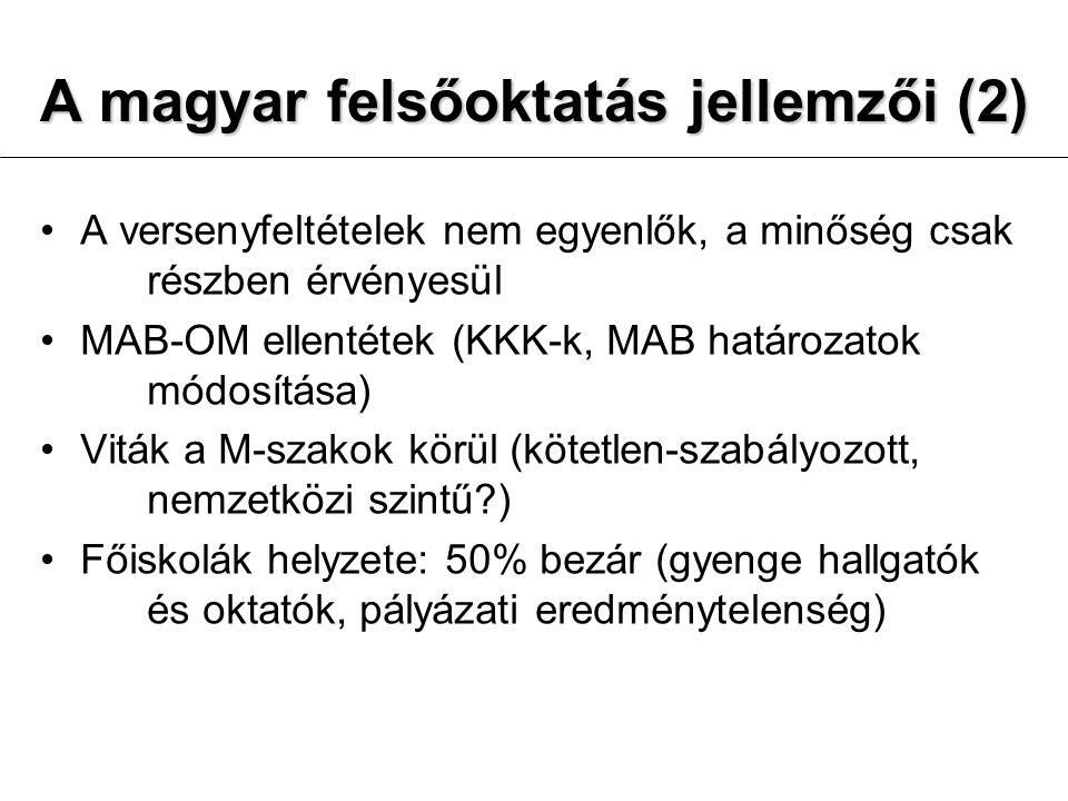A magyar felsőoktatás jellemzői (2)