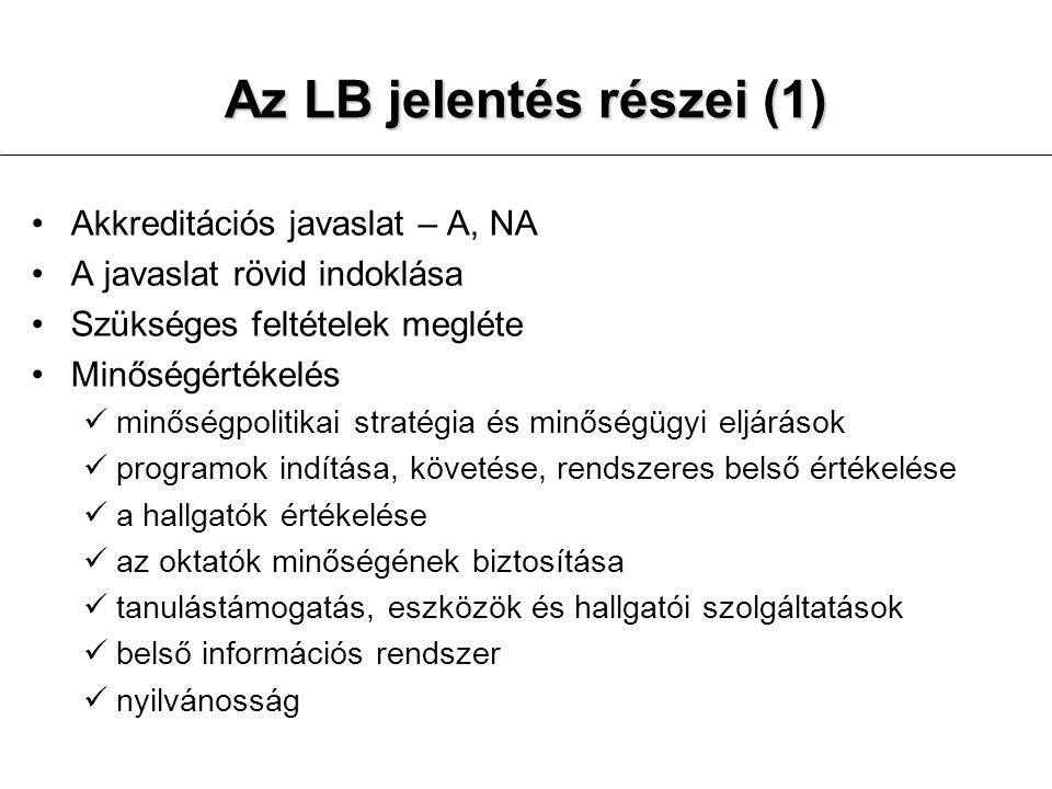 Az LB jelentés részei (1)