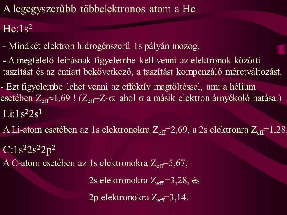 A legegyszerűbb többelektronos atom a He He:1s2